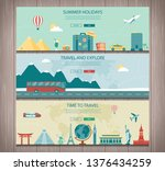 travel composition with world... | Shutterstock .eps vector #1376434259