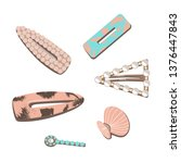 flat vector set hair accessory. ... | Shutterstock .eps vector #1376447843