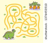 Stock vector help cute dino find the right path to plant labyrinth maze game for kids vector illustration 1376453510