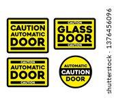 caution automatic glass door... | Shutterstock .eps vector #1376456096