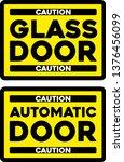 caution automatic glass door... | Shutterstock .eps vector #1376456099