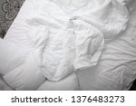 view on top of crumpled bed...   Shutterstock . vector #1376483273