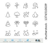 vector line icon set. trees...