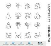 vector line icon set. trees...