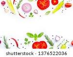 various fresh vegetables and... | Shutterstock . vector #1376522036
