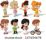 backpack,bicycle,bike,blonde,book,boy,brunet,cartoon,character,children,colorful,comic,face,family,friends