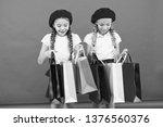 kids cute schoolgirls hold... | Shutterstock . vector #1376560376