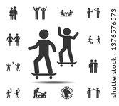 friends skateboard icon. simple ... | Shutterstock . vector #1376576573