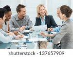 group of happy coworkers... | Shutterstock . vector #137657909