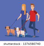 young couple with dog avatars...   Shutterstock .eps vector #1376580740