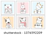 Stock vector cute baby animals with window cartoon hand drawn style for printing card t shirt banner product 1376592209