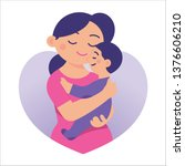mother holds her son  and hugs... | Shutterstock .eps vector #1376606210
