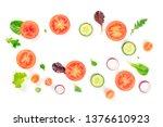 fresh vegetable salad... | Shutterstock . vector #1376610923