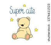 cute bear hand drawn... | Shutterstock .eps vector #1376611523