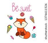 cute fox hand drawn... | Shutterstock .eps vector #1376611526