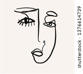one line doddle abstract face.... | Shutterstock .eps vector #1376614739