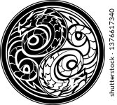 yin yang dragon sigil | Shutterstock .eps vector #1376617340
