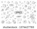 doodle space. trendy universe... | Shutterstock .eps vector #1376627783