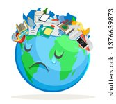 trash polluted planet earth sad ... | Shutterstock .eps vector #1376639873