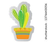 dotted sticker of a cactus.... | Shutterstock .eps vector #1376643056