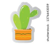 dotted sticker of a cactus.... | Shutterstock .eps vector #1376643059