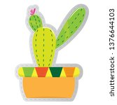 dotted sticker of a cactus.... | Shutterstock .eps vector #1376644103