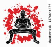 man kung fu action ready to... | Shutterstock .eps vector #1376646479