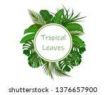 set. green tropical leaves of...   Shutterstock .eps vector #1376657900