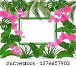 green tropical leaves of banana ...   Shutterstock .eps vector #1376657903
