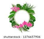set. green tropical leaves of...   Shutterstock .eps vector #1376657906