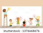 cute little gids painting with... | Shutterstock .eps vector #1376668676