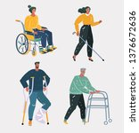 Stock vector vector cartoon illustration of disabled and handicapped set with people in wheelchairs crutches 1376672636