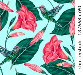 tropical floral vector seamless ... | Shutterstock .eps vector #1376685590