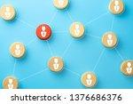 wooden cubes with businessman...   Shutterstock . vector #1376686376