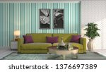 interior of the living room. 3d ... | Shutterstock . vector #1376697389