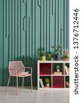 decorative green wall chair and ... | Shutterstock . vector #1376712446