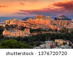 sunset view of the acropolis of ... | Shutterstock . vector #1376720720