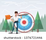target with arrow vector... | Shutterstock . vector #1376721446