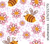 seamless pattern with flowers... | Shutterstock .eps vector #1376721770