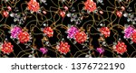 rose  tulip  peony  embroidery... | Shutterstock . vector #1376722190