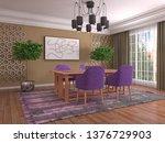 interior dining area. 3d... | Shutterstock . vector #1376729903