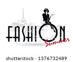 fashion girl in sketch style on ... | Shutterstock .eps vector #1376732489
