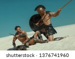 male athlete in the armor of an ...   Shutterstock . vector #1376741960