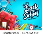 top view back to school in blue ... | Shutterstock .eps vector #1376765519