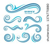wave icons  vector set of... | Shutterstock .eps vector #1376770880
