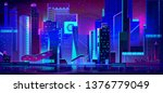 night city with neon... | Shutterstock .eps vector #1376779049