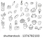 hand drawn set of food and... | Shutterstock . vector #1376782103