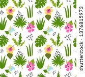 seamless pattern with tropical... | Shutterstock .eps vector #1376815973