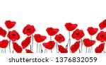 red poppies in a row. isolated... | Shutterstock .eps vector #1376832059