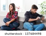 young couple in conflict  male... | Shutterstock . vector #137684498
